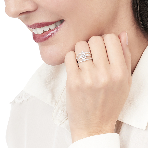 Bague Winter Flower Or Blanc Oxydes