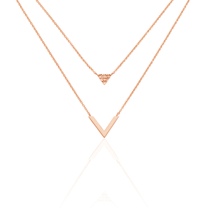 COLLIER ARGENT ROSE TARA DOUBLE CHAINE